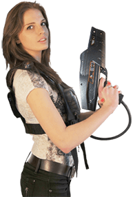 Girl with Delta Strike laser tag equipment